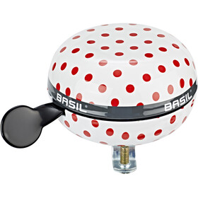 Basil Polkadot Big Bell Dzwonek rowerowy 80mm Ø, white/red dots